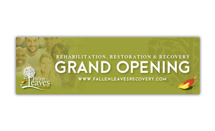 Grand Opening Banner Design -Fallen Leaves Recovery Portfolio