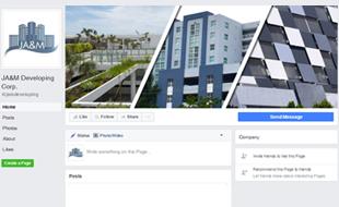 Facebook Cover Design - JA&M Developing Corp. Portfolio