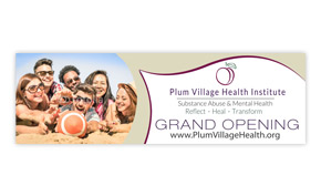 Grand Opening Banner Design - Plum Village Health Institute Portfolio