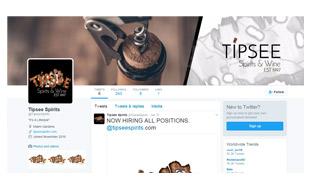Tipsee Spirits & Wine Twitter Page Portfolio